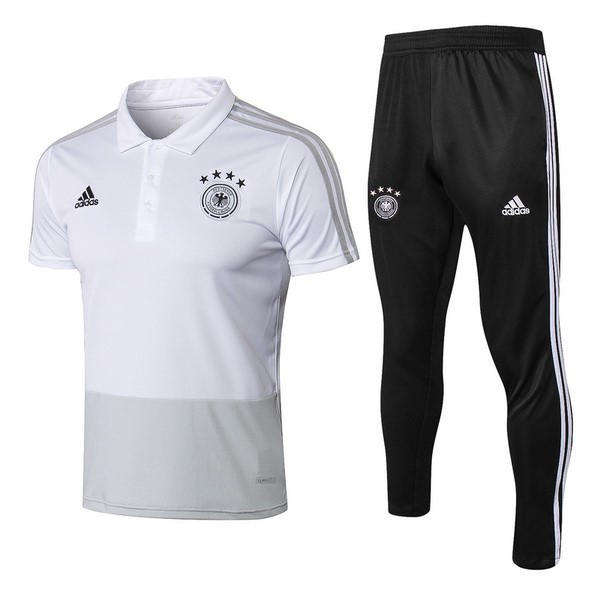 Polo Football Allemagne Ensemble Complet 2018 Gris Blanc