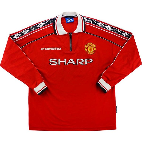 Maillot Football Manchester United Domicile ML Retro 1998 1999 Rouge