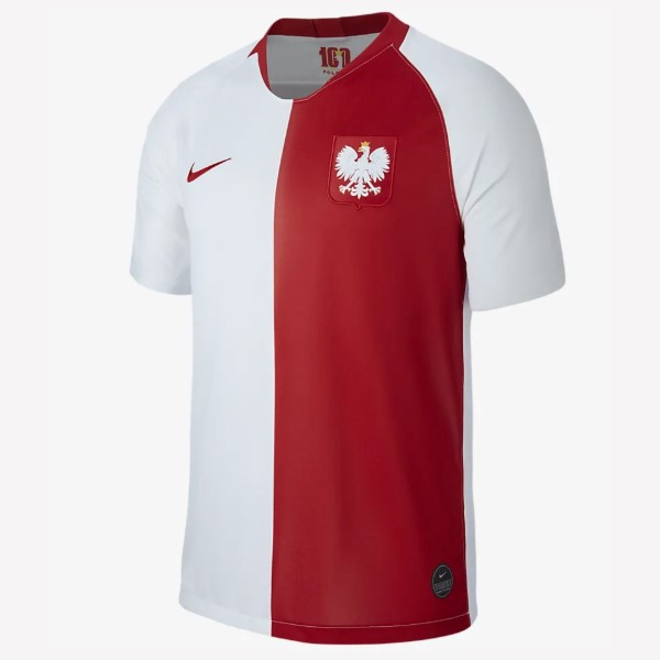 Maillot Football Polo Footballgne 100th Blanc Rouge